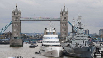 Superyacht in London